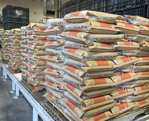 Scratch and Peck Feeds bags on pallets