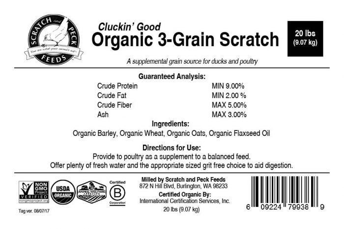 Scratch and Peck Feeds Organic 3-Grain Scratch