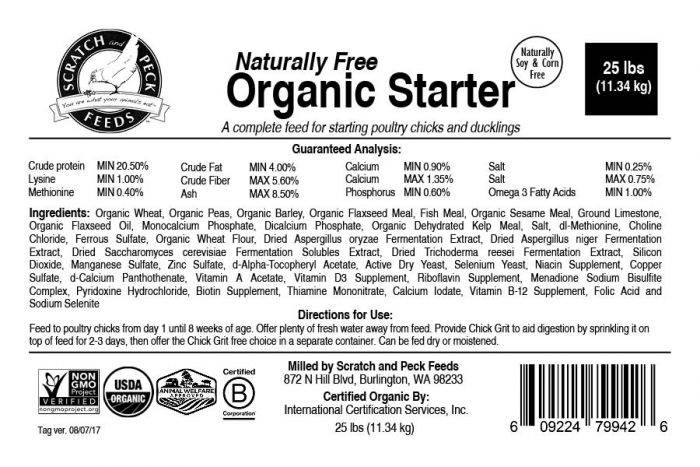 Scratch and Peck Feeds Naturally Free Organic Starter