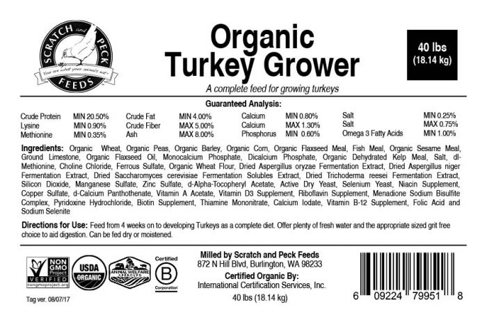 Scratch and Peck Feeds Organic Turkey Grower