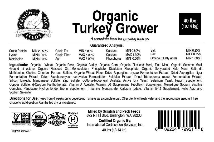 Scratch and Peck Feeds Organic Turkey Grower