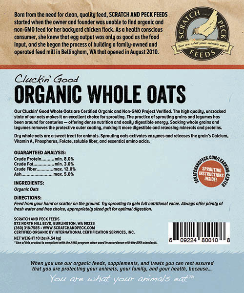 Scratch and Peck Feeds Cluckin' Good Organic Whole Oats